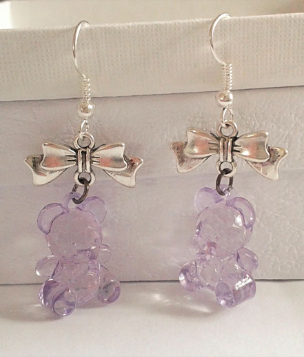 Purple Teddy Earrings with Silver Bows