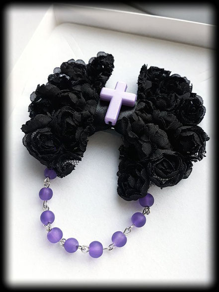 Elegant Beaded Bow with Cross in Purple