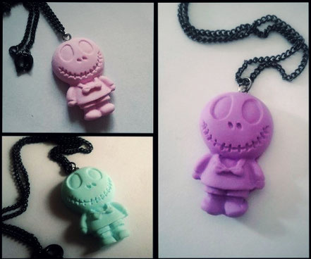 Pastel Skull Doll Necklace