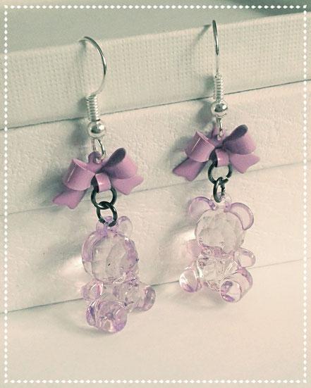 Purple Teddy Earrings with Purple Bows