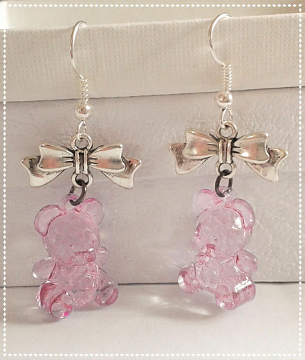 Pink Teddy Earrings with Silver Bows