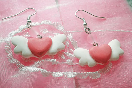 Pink Flying Heart Earrings