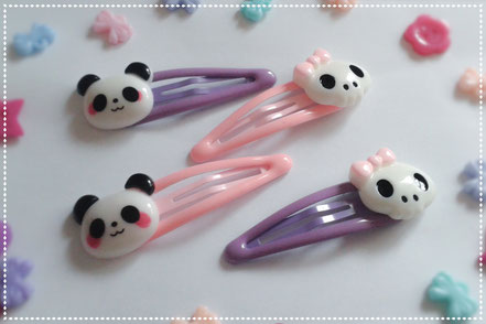 Pastel Panda & Skull Hair Clips Sets
