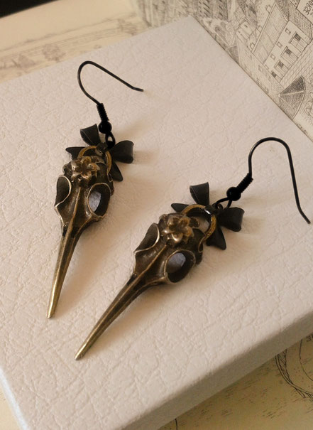 Steampunk Lolita Bird Skull Earrings