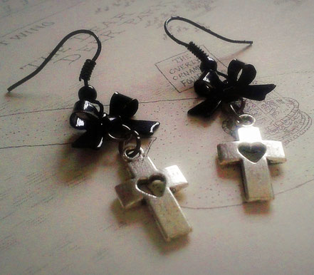 Heart Cross Earrings with Black Bows
