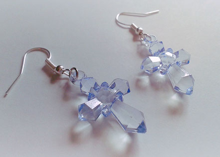 Baby Blue Cross Earrings