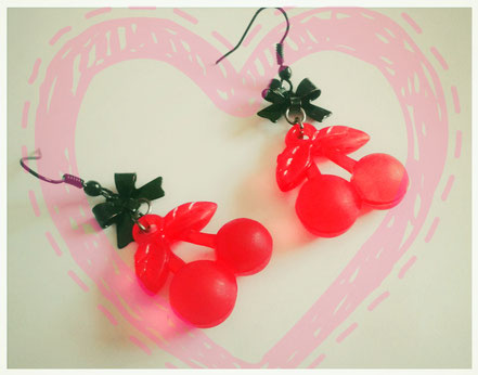 Red Cherry earrings with Black Bows