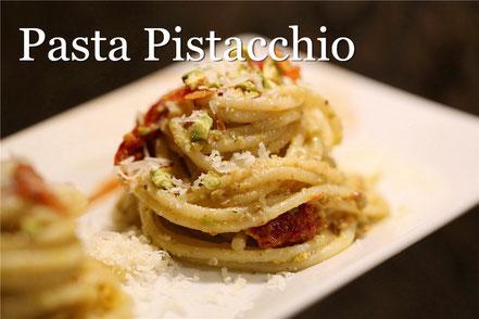 Rezept für italienische Pasta mit Pistazien und getrockneten Tomaten