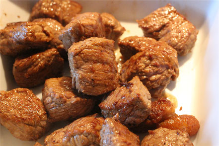 Das angebratene Rindfleisch - noch ohne Sauce