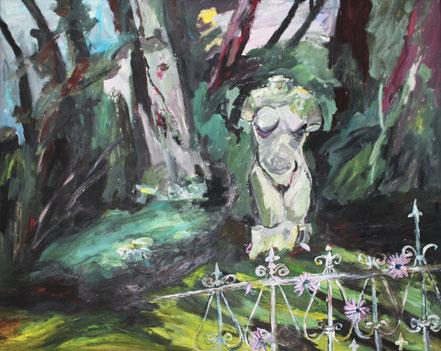 """Im Park (Gutshaus Wolfradshof)"", 2014, Acryl, 80 x 100 cm"