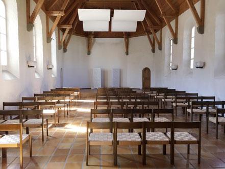 Kapelle mit neu montierten Akustik-Elementen