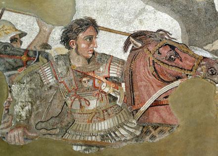 "Alexanderder Große im Schlachtgetümmel, Detail der berühmten ""Alexanderschlacht"" (Mosaik, Pompeji, ca. 150–100 v. Chr.)"
