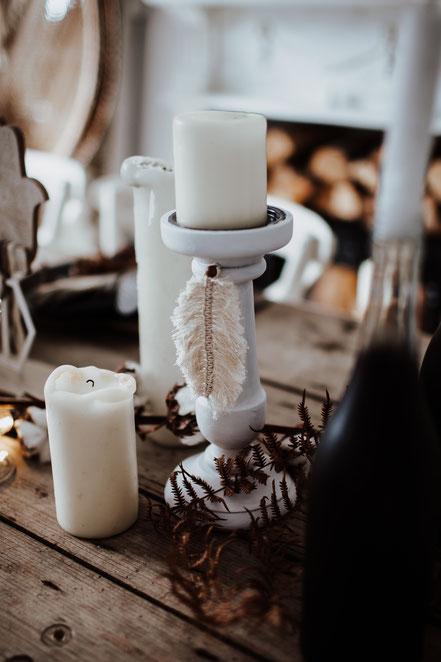 Boho Wedding Hochzeit Kerzenständer weiß Dekoverleih Köln Bonn the featherette