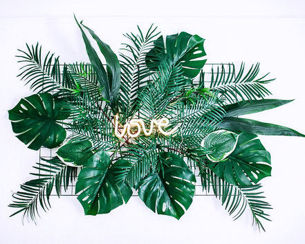 Urban Jungle Boho Hipster Wedding Backdrop Neon Sign the featherette Dekoverleih Köln Bonn