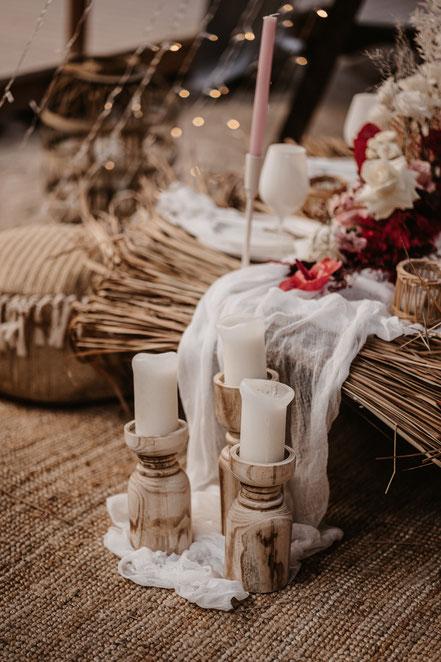 Kerzenständer mieten Boho Hochzeit Dekoverleih the featherette