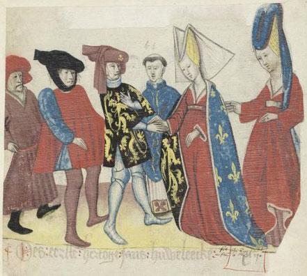 Mariage de Jean Ier DE BRABANT et de Marguerite DE FRANCE en 1269, Brabantsche Yeesten, livre 5, par Jan VAN BOENDALE, 15ème siècle, KBR