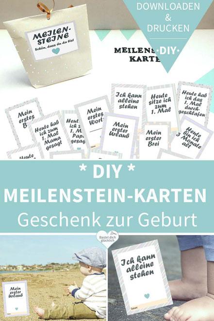 Karten basteln, diy, Karten selber machen, ausdrucken, Geburt, Baby, Printable, Meilenstein, Meilensteinkarten