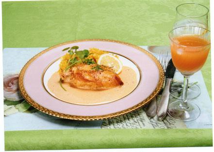 鶏肉のソテーとバターピラフ        マスタードクリームソース