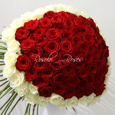 Grand bouquet de superbes roses rouges et blanches, taille large : CHF 680.