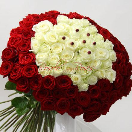 Somptueux bouquet de roses en blanc et rouge, taille très grand:  CHF 880.