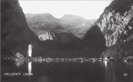 Hallstatt Lahn mit Sudpfanne um 1920 (© Severin Schenner)