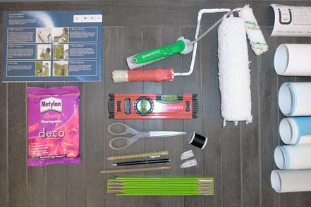Tapezieranleitung-Werkzeug: Schon vorher alles griffbereit legen