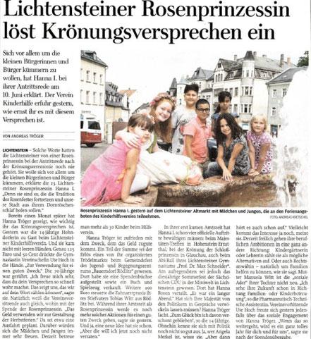 FP 13.07.2017 Rosenprinzessin besucht Kinderhilfe Lichtenstein