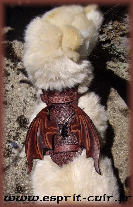 """Harnais en cuir pour furet """"dragon"""""""