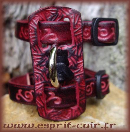 Harnais pour furet modèle bambou (noir et rouge)