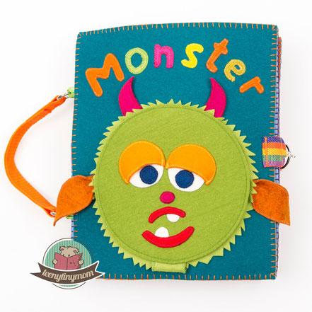 Quiet book Monsterbuch Spielbuch Stoffbuch Activity Buch Softbook Reisespielzeug Nähanleitung Schablonen kostenlos ein Spielbuch nähen Feinmotorik Kleinkind Fingerfertigkeit Verschlüsse lernen sew along
