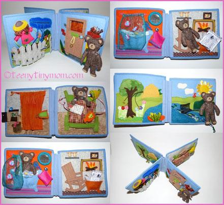Quiet Book Felt Wollfilz Stoffbuch Spielbuch Aktivbuch Stoffbuch Kinderbuch Teddybuch ein Spielbuch nähen tutorial