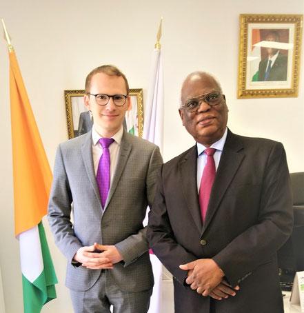 Avec le représentant personnel du chef de l'Etat ivoirien près la Francophonie, S.E.M. Abdou Touré, parrain de la première édition