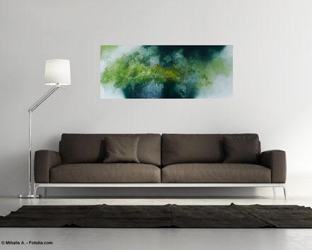 """bereits vergeben"" Nr. 268 - Floating Painting  40x100x4,5 cm"