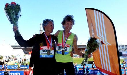 links: Gonnie van de Hel wint marathon NK categorie Vrouwen 65