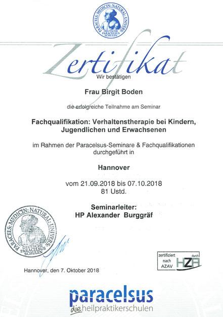 Zertifikat Fachqualifikation Verhaltenstherapie Paracelsus Heilpraktikerschulen