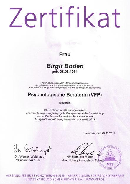 Zertifikat Psychologischer Berater (VfP)