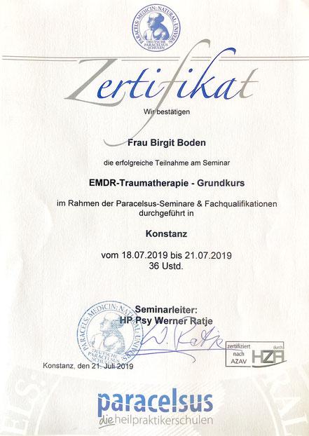 Zertifikat EMDR Paracelsus Heilpraktikerschulen