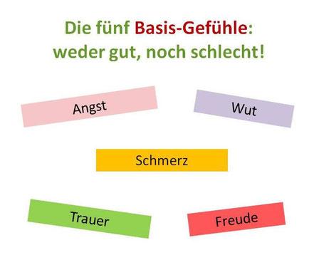 Die Basis-Gefühle: Angst, Wut, Schmerz, Trauer, Freude