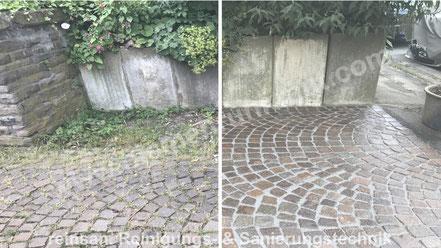Kleinpflastersanierung -Steinreinigung und Feste Fuge