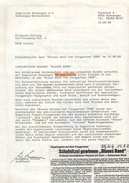 Bericht: Wolfgang Krause / Allgäuer Zeitung vom 17.08.1988