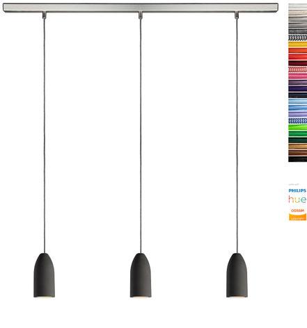 Leuchte aus Beton mit drei Textilkabeln 3-flammig LED rund für Esstisch Esszimmer Küchentisch Küchentheke Theke modern design