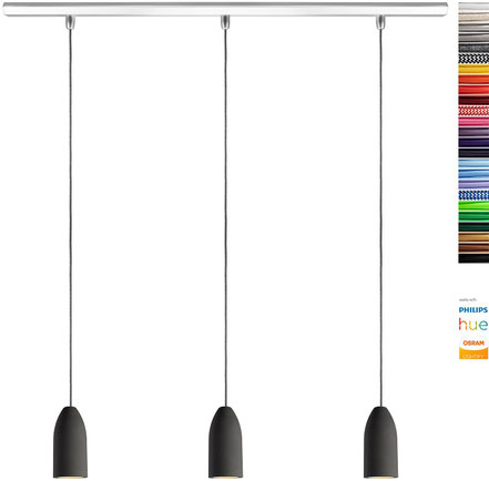Hängelampe (3x Beton Lampe), Textilkabel Gelb (19 Farben wählbar), Deckenschiene 113 cm, incl. LED (Dimmbar), Pendelleuchte Esszimmer Buchenbusch urban design