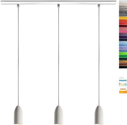 Pendellampe (3x Beton Lampe), Textilkabel Orange (19 Farben wählbar), Deckenschiene 113 cm, incl. LED (GU10, Dimmbar), Esstisch Buchenbusch urban design