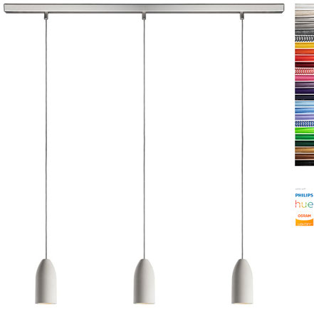 Lampe aus Beton mit drei Textilkabeln 3-flammig LED rund für Esstisch Esszimmer Küchentisch Küchentheke Theke modern design