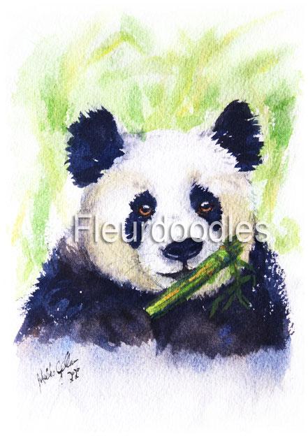 Pandabär in Aquarell, ca. 10,5 x 15 cm, #75