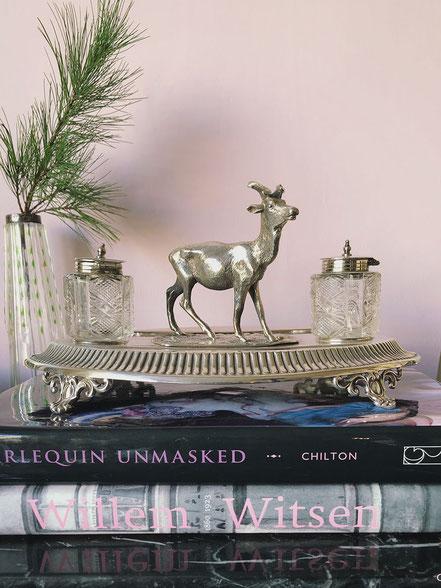 Antieke Zilveren inktset met hert