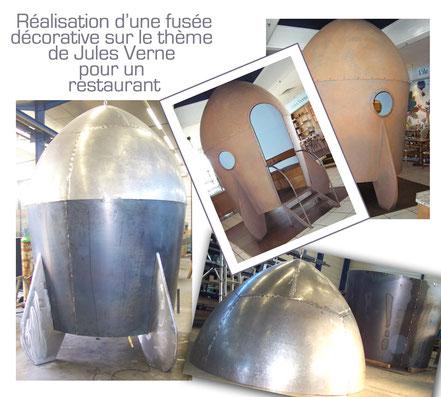 Réalisation d'une fusée décorative inspirée de Jules Verne pour un restaurant