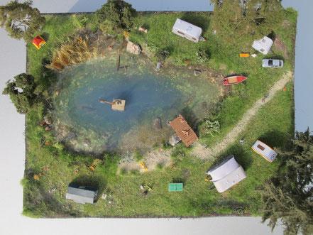 Diorama Badesee mit Camping Spur N (1:160) - bei Interesse auf Bild klicken