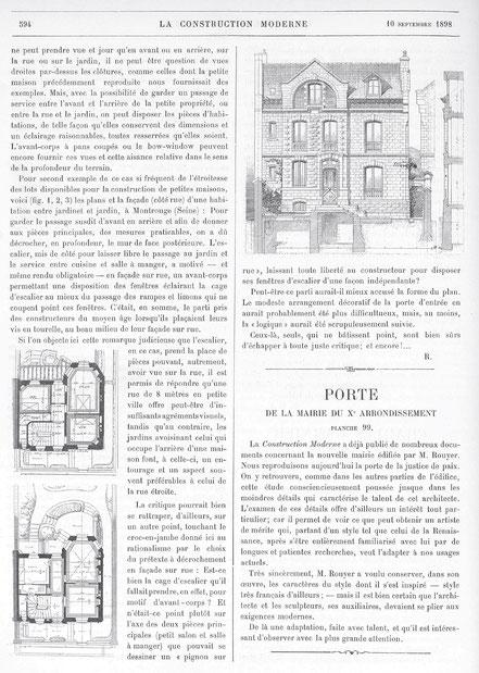 """Reproduction de l'article """"Cottages et maisonnettes sur terrains étroits"""", La Construction Moderne, 10 septembre 1898, p.594."""