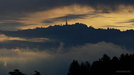 Berg Pfänder mit Sender mit Morgenstimmung